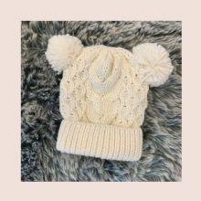 Boys Cream Knitted Cable Pom Pom Hat